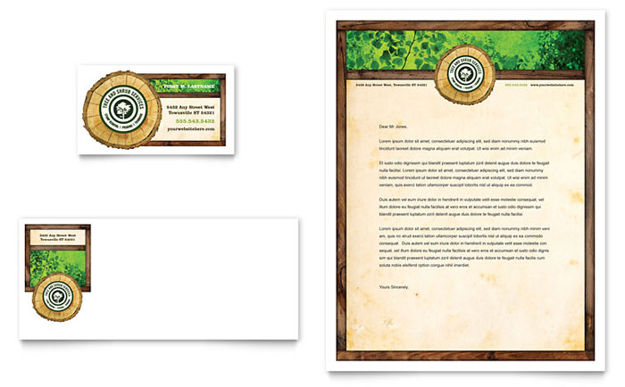 Tree Service Business Card & Letterhead Template Design