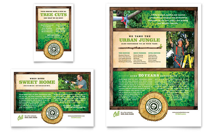 Tree Service Flyer & Ad Template Design - InDesign, Illustrator, Word, Publisher, Pages
