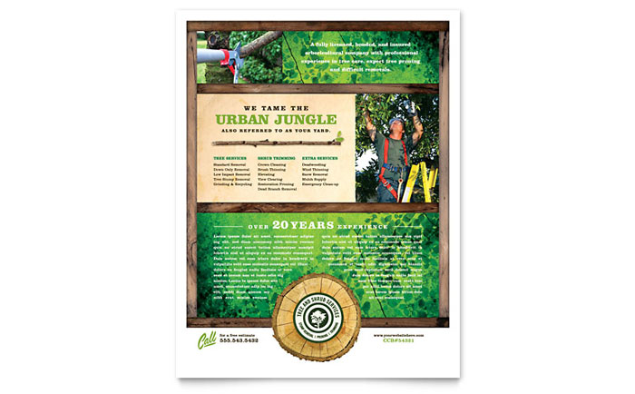 Tree Service Flyer Template Download - InDesign, Illustrator, Word, Publisher, Pages
