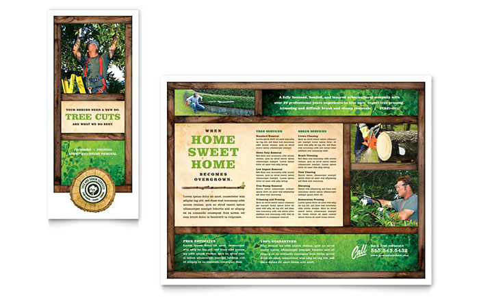 Tree service tri fold brochure template design for Microsoft publisher brochure template