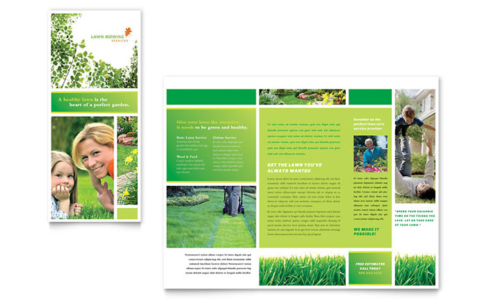 Lawn Mowing Service Brochure Template Design - Home care brochure template