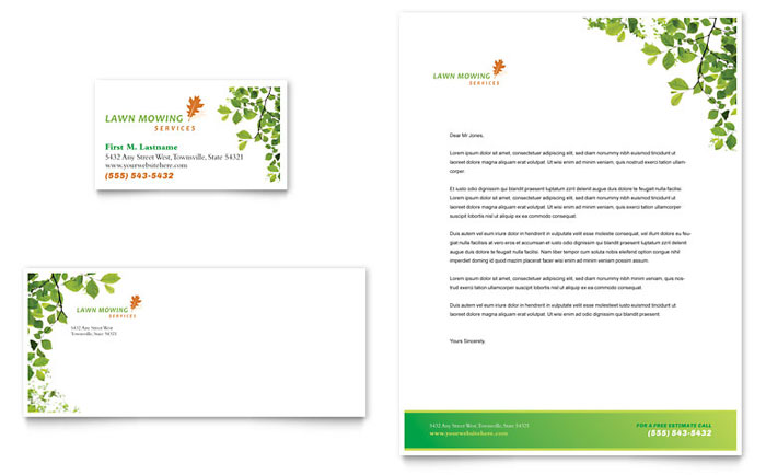 Lawn Mowing Service Business Card Letterhead Template Design - Lawn care business cards templates free