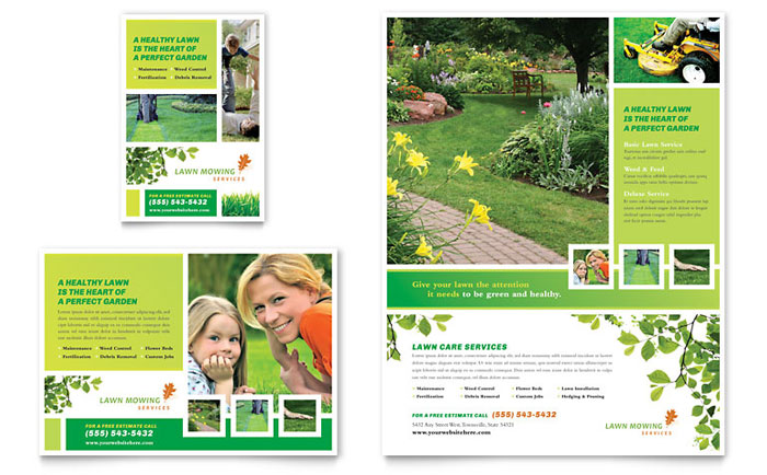 Lawn mowing service flyer ad template design for Landscaping flyers templates