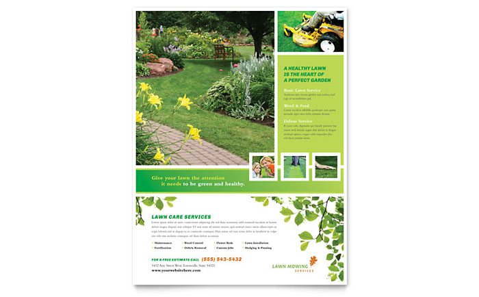 Lawn mowing service flyer template design for Landscaping flyers templates