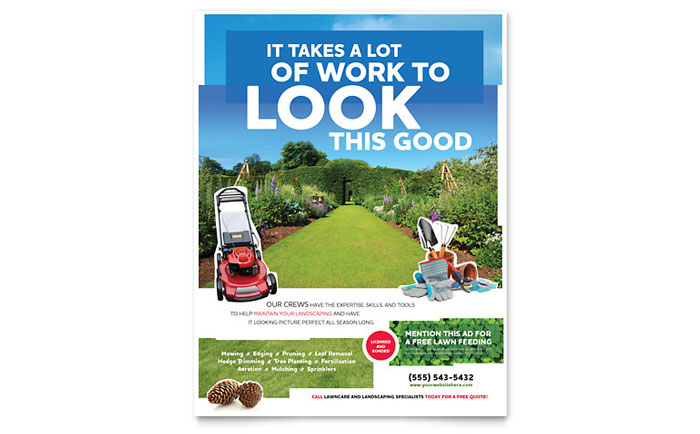 Landscaping flyer template design for Garden maintenance flyer template