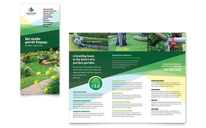 Landscaper brochure template design for Garden maintenance flyer template