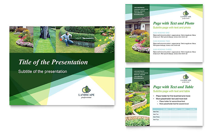 landscaper powerpoint presentation template design, Presentation templates