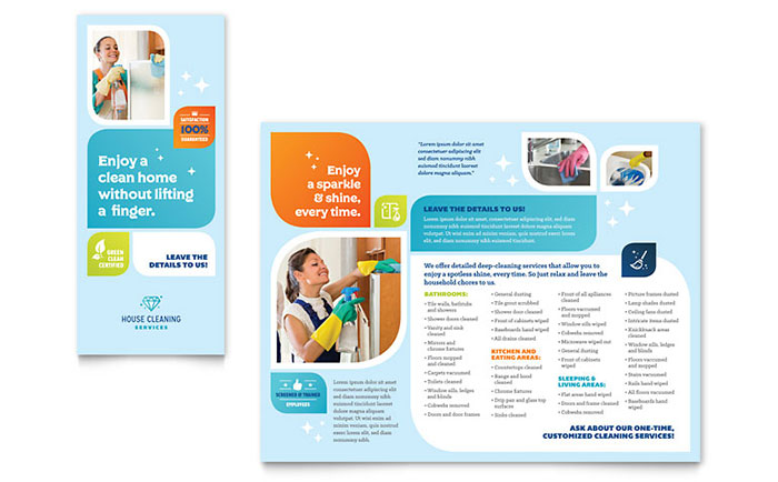 Cleaning Services Brochure Template Design - Fold brochure template