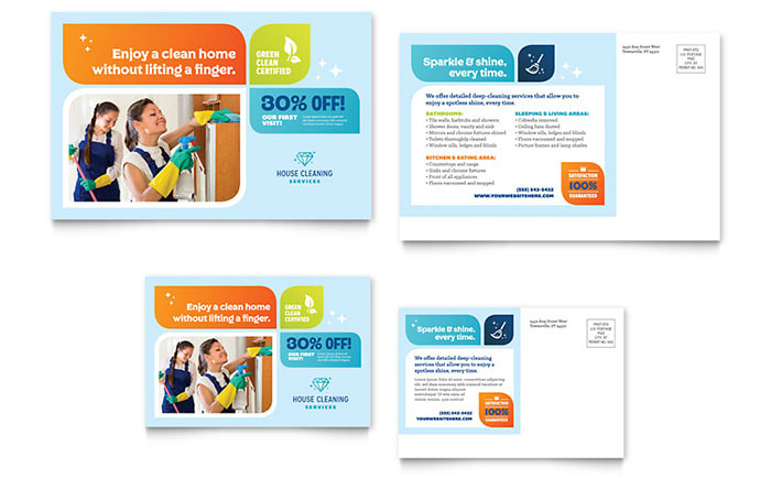 Cleaning Services Postcard Template Design Download - InDesign, Illustrator, Word, Publisher, Pages