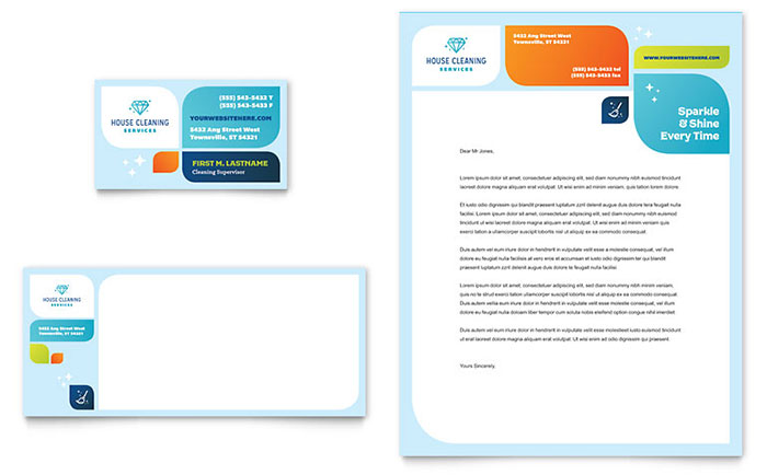 Cleaning Services Business Card  Letterhead Template Design