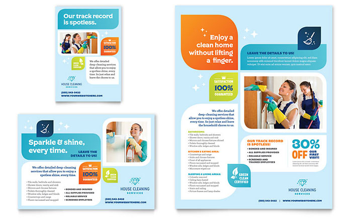 House Cleaning Service Flyers Templates Graphic Designs