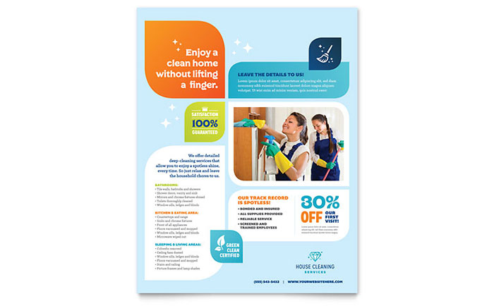 Cleaning services flyer template design for Product and service design
