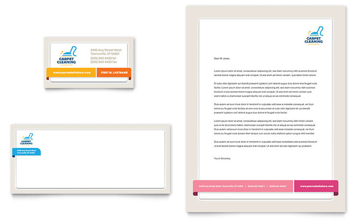 Carpet Cleaning Business Card & Letterhead Template Design Download - InDesign, Illustrator, Word, Publisher, Pages