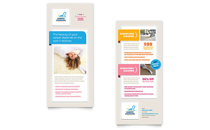 Carpet Cleaning Rack Card Template Design Download - InDesign, Illustrator, Word, Publisher, Pages