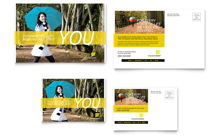 Insurance Agent Postcard Template Design Download - InDesign, Illustrator, Word, Publisher, Pages