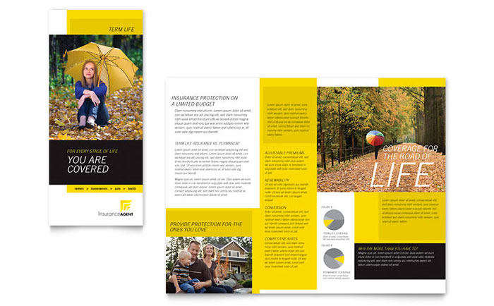 Insurance agent tri fold brochure template design for Insurance brochure template