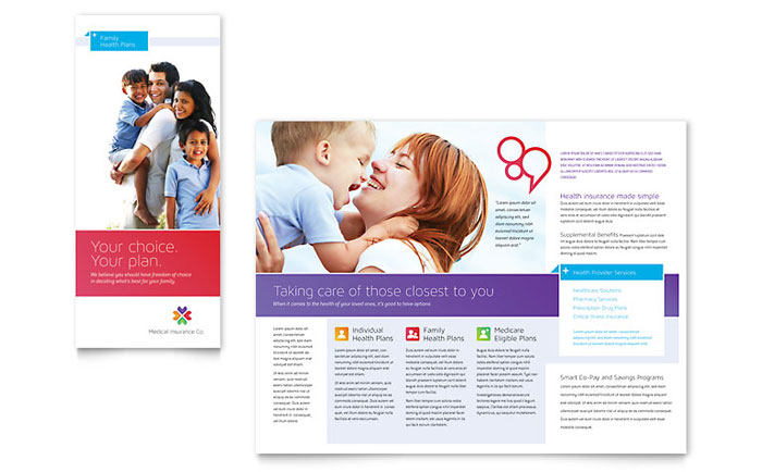 Medical insurance brochure template design for Medical office brochure templates