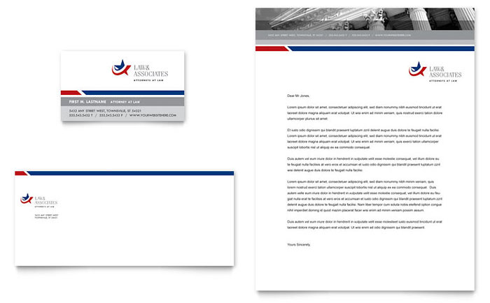 Legal  Government Services Business Card  Letterhead Template Design