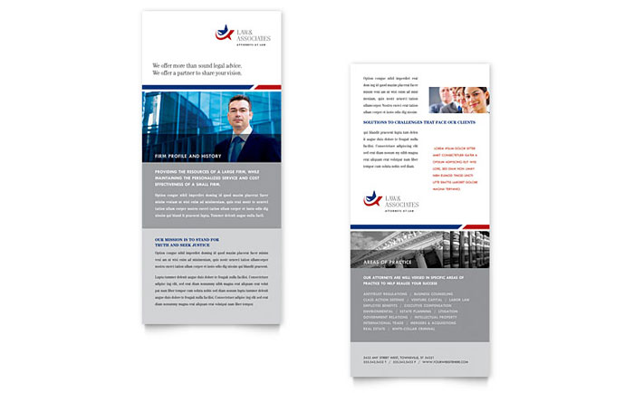 Legal & Government Services Rack Card Template Design Download - InDesign, Illustrator, Word, Publisher, Pages