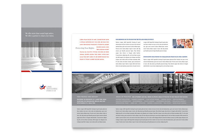 legal  u0026 government services tri fold brochure template design