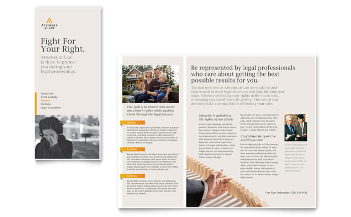 Legal advocacy tri fold brochure template design for Legal brochure template