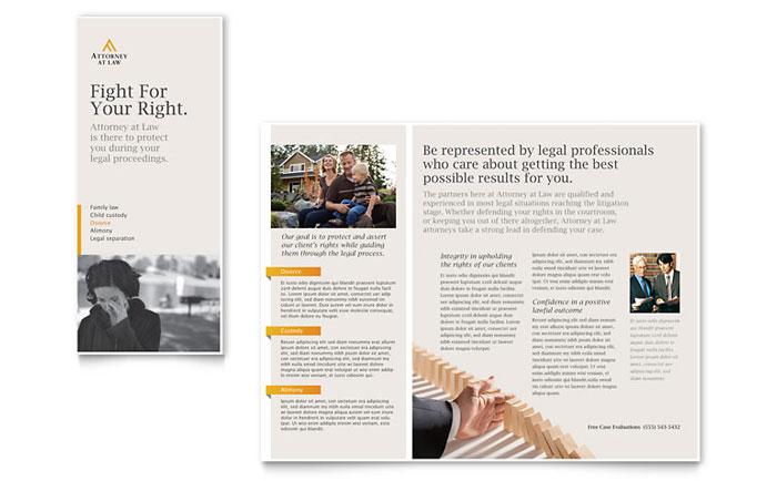 legal advocacy tri fold brochure template design