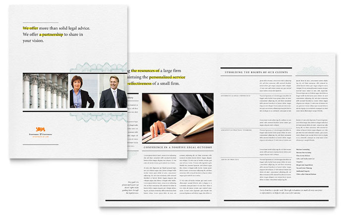 Attorney Brochure Template Design Download - InDesign, Illustrator, Word, Publisher, Pages