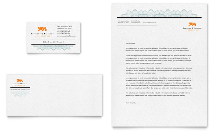 Attorney business card letterhead template design for Law office letterhead template free