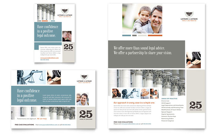 Family law attorneys flyer ad template design for Legal brochure template