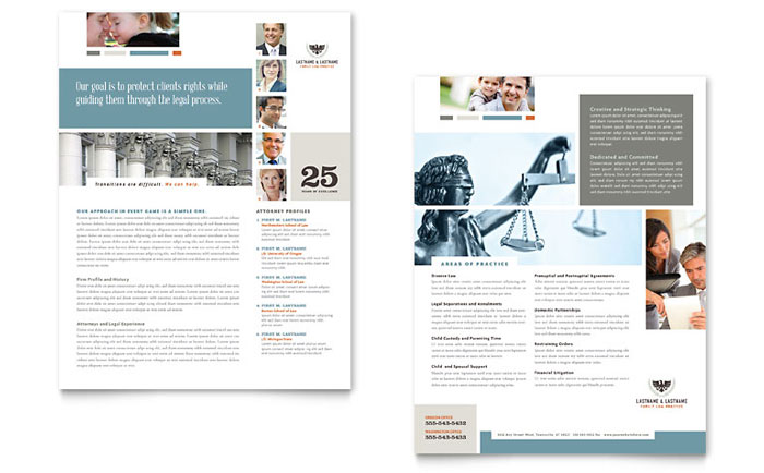 Family law attorneys datasheet template design for Legal brochure template