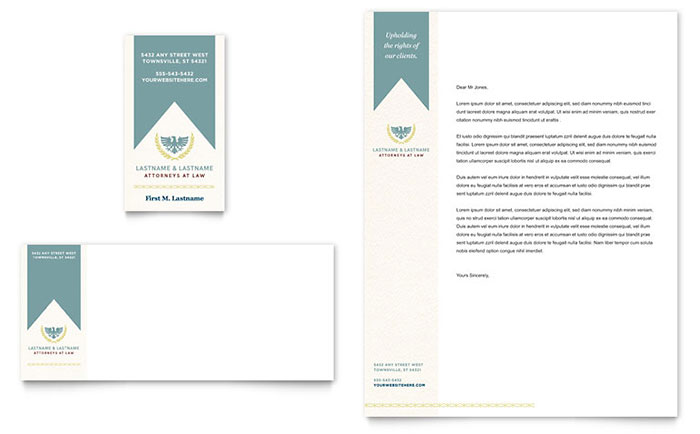 Law firm business card letterhead template design for Law office letterhead template free