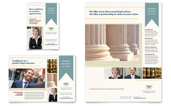 Law Firm Flyer & Ad Template Design Download - InDesign, Illustrator, Word, Publisher, Pages