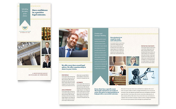 Law Firm Tri Fold Brochure Template Design Download - InDesign, Illustrator, Word, Publisher, Pages