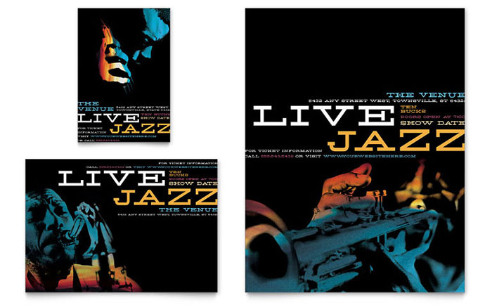 Jazz Music Event Flyer & Ad Template Design - InDesign, Illustrator, Word, Publisher, Pages