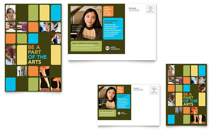 Arts Council & Education Postcard Template Design Download - InDesign, Illustrator, Word, Publisher, Pages