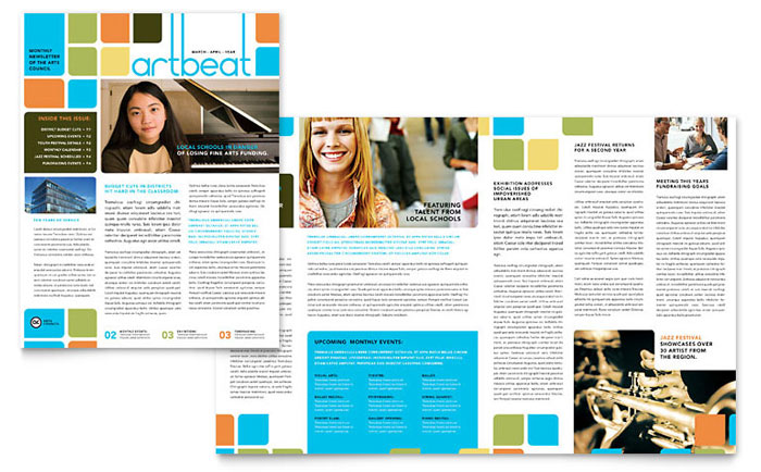 Music Arts Half Fold Newsletter Templates