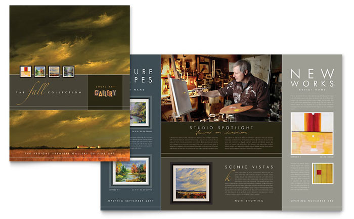 music brochure templates - art gallery artist brochure template design