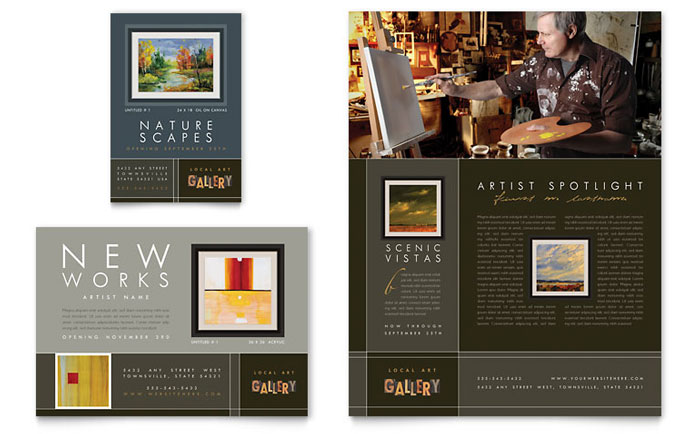 art brochure template - art gallery artist flyer ad template design