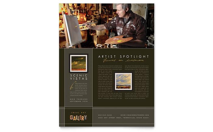art gallery artist flyer template design