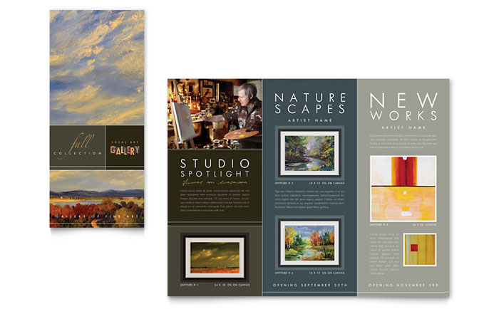 art brochure template - art gallery artist tri fold brochure template design