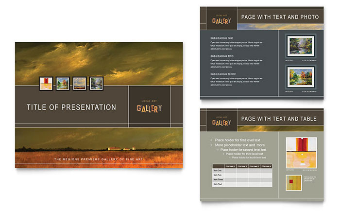 art gallery artist powerpoint presentation template design