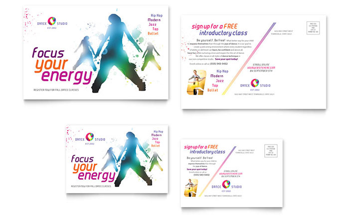 Dance studio postcard template design colourmoves Gallery