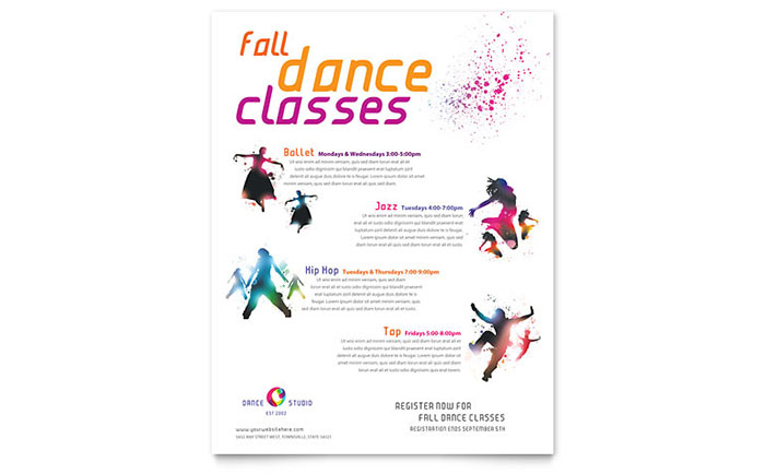 dance studio class flyer template design