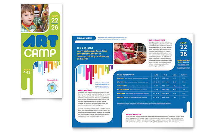 Kids art camp brochure template design for Free brochure templates for students
