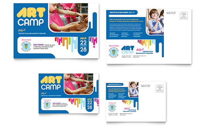 kids art camp postcard template design - Art Templates For Kids