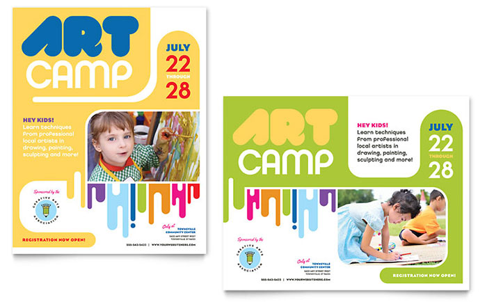 kids art camp poster template design - Art Templates For Kids