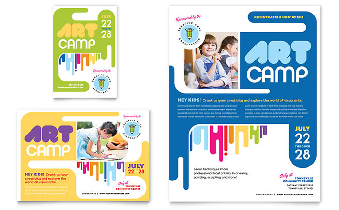 kids art camp flyer ad template design
