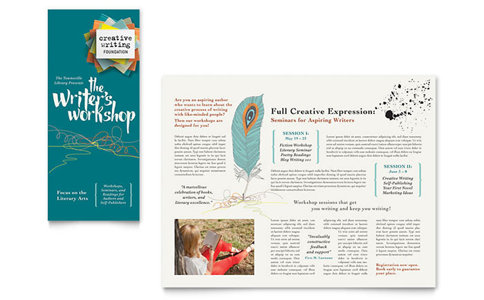 Writers workshop brochure template design saigontimesfo