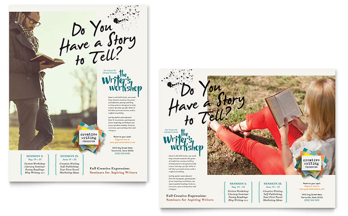 Writers Workshop Poster Template Design - Workshop brochure template