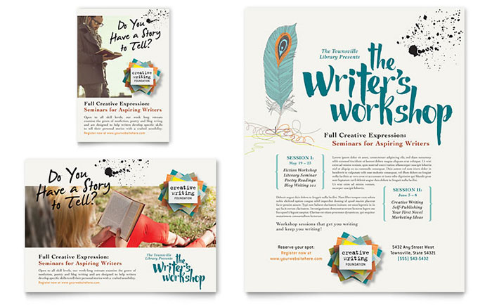 Writer 39 s workshop flyer ad template design for Planned giving brochures templates